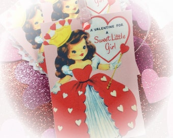 9 Valentine Handmade Gift Bag Tags/Cards & Ribbons - QUEEN OF HEARTS Little Girl Vintage Style Retro Art Tags Shabby Chic Journal Scrapbook