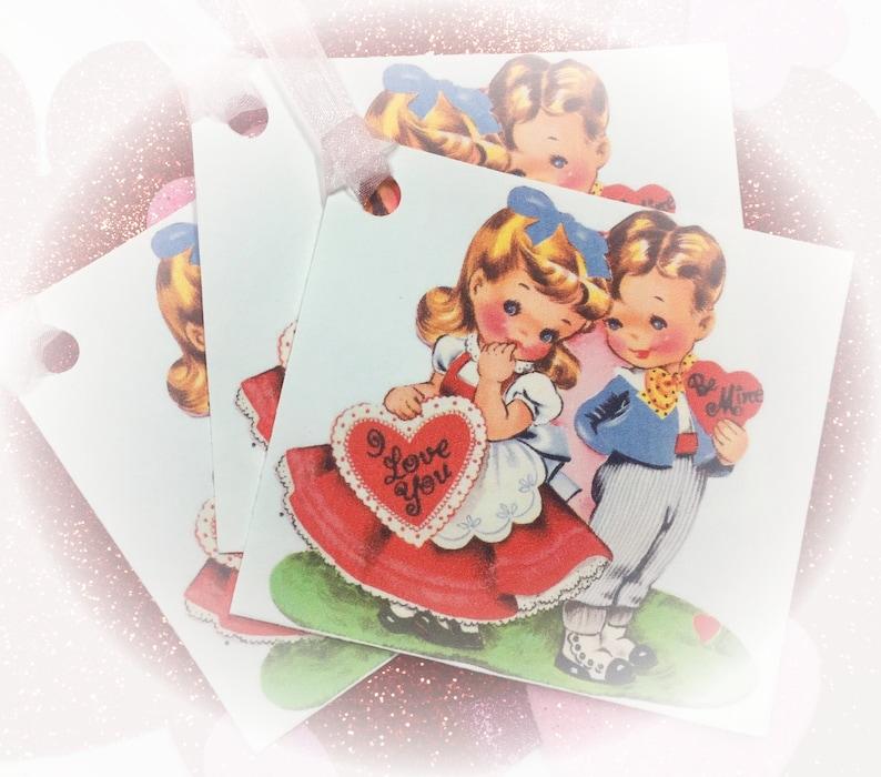 9 Valentine Handmade Gift Bag Tags/Cards & Ribbons Vintage image 0