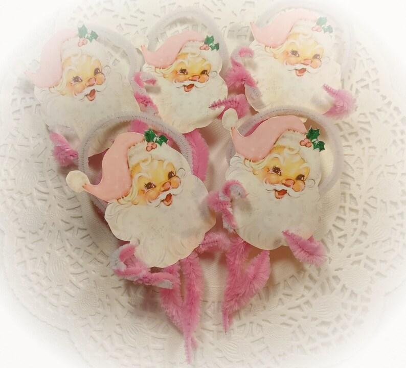 5 Pink Santa Christmas Chenille Vintage Style Ornaments  image 0