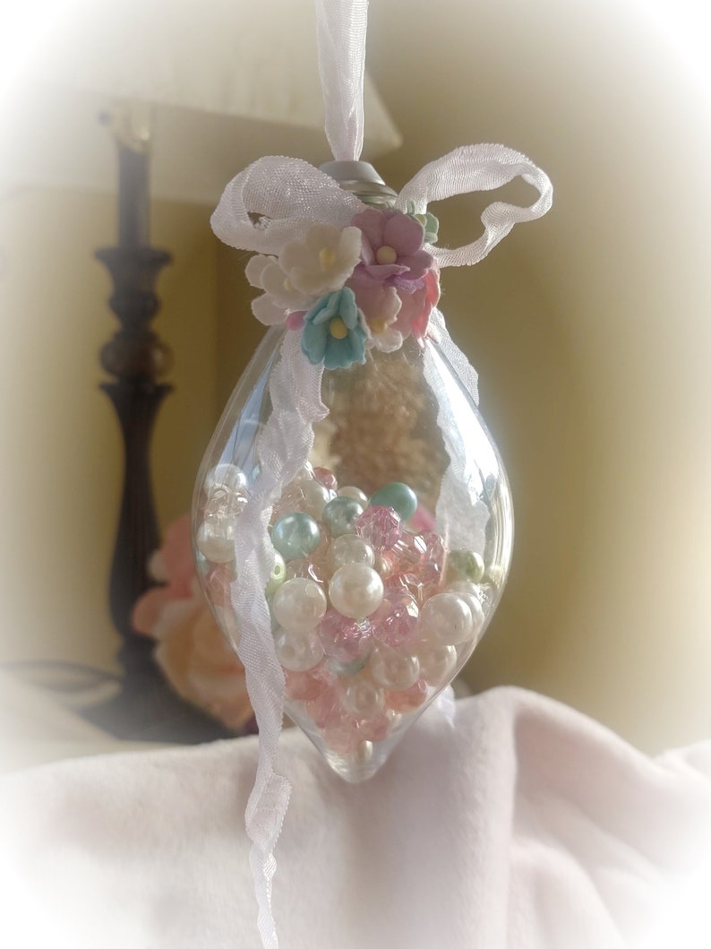 Shabby Chic Christmas Tree Ornaments  Pinks Pastels Ornament image 0