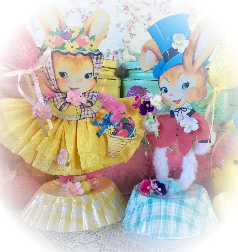 Easter Bunny Bunnies Spring Decor Vintage Style Bump Chenille Both Bunnies