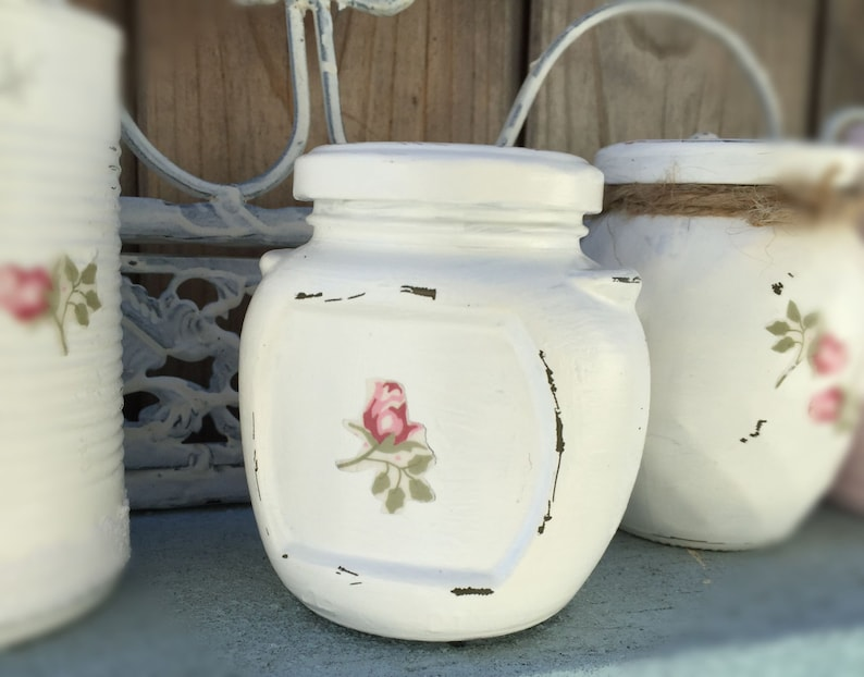 White Shabby Chic Painted Glass Jar and Lid Cottage Style image 0