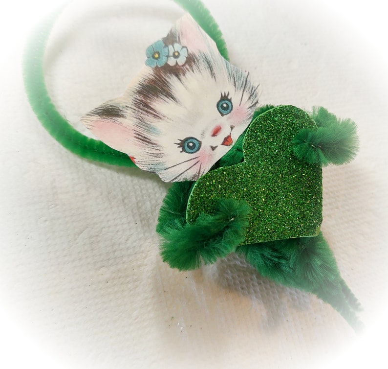 Kitty Chenille Vintage Style St Patrick's Day Ornament  image 0