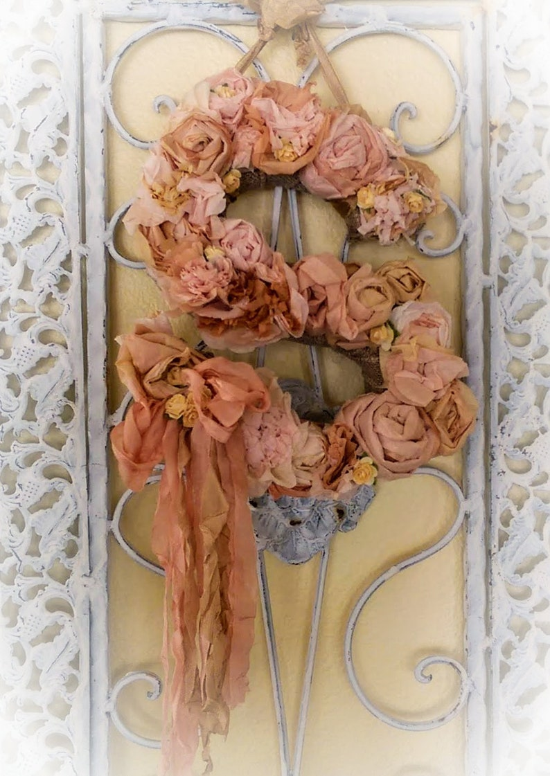 Floral Letter Shabby Chic Wreath  Coffee Filter Wreath Blush image 0