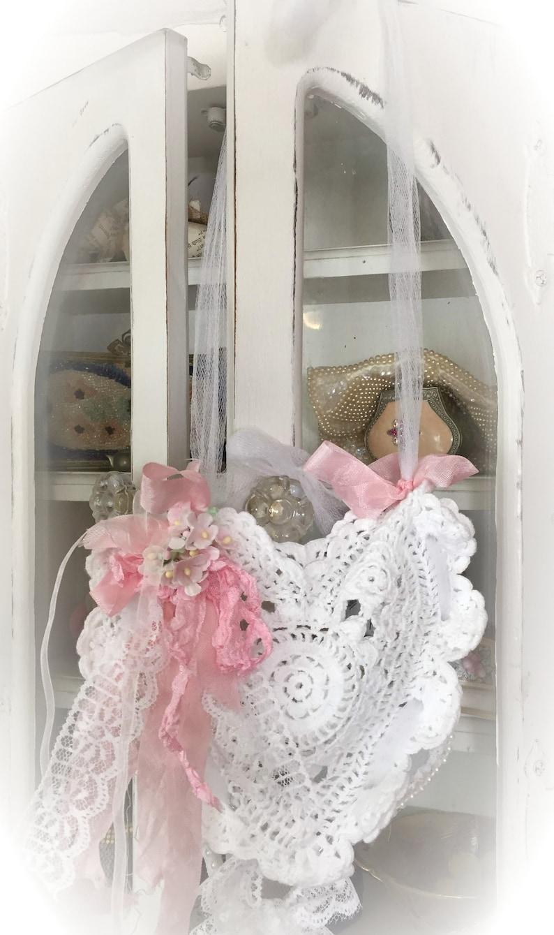 Shabby Chic Heart Doily Lace Wreath  WALL POCKET Style Door image 0