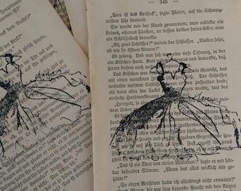 6 Vintage German Book Pages Hand Stamped Vintage Dress Scrapbook Journal Craft Gift Wrap Supplies Paper Ephemera DIY Destash Lot