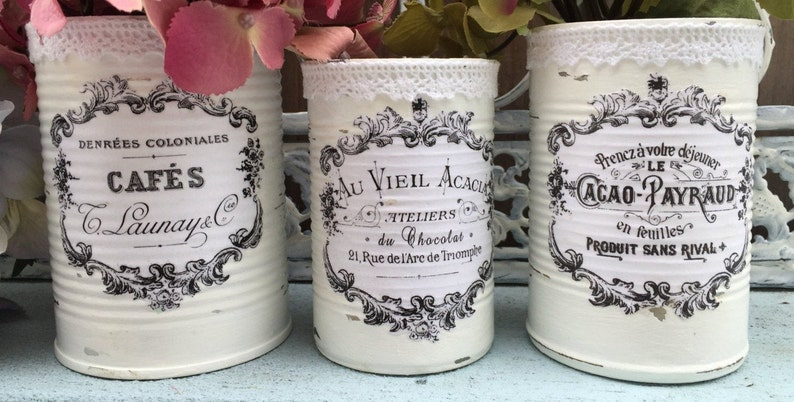 French Country White Painted Tin Cans Centerpiece Vase Shabby image 0