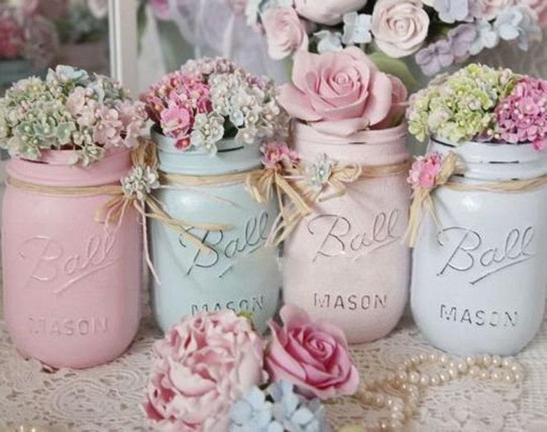 Shabby Chic Painted Mason Jar Centerpiece Decor Vase Wedding image 0