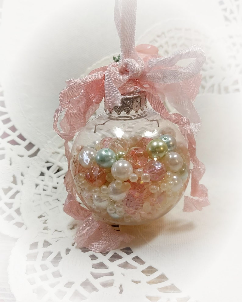 PINK Shabby Chic CHRISTMAS Tree Ornaments  Shabby Chic image 0