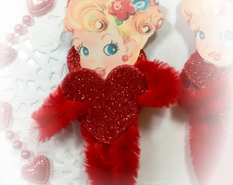 Vintage Girl and Heart Chenille Valentines Day Ornament - Christmas Tree Decoration - Vintage Inspired Pipe Cleaner Ornament - Gift Topper