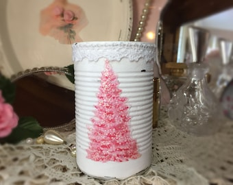 White Pink Christmas Tree Shabby Chic Retro Painted Small Tin Can Lace Trim Glitter Xmas Decor Table Centerpieces Candle Holder Vase Gift