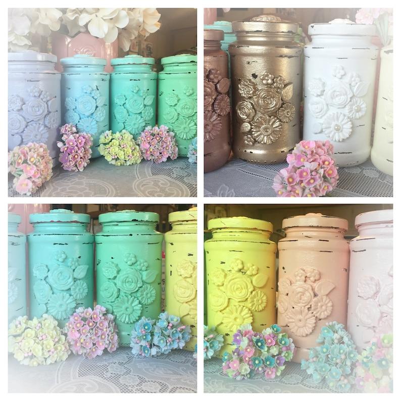 Ornate Shabby Chic Glass Flower Vase Jar  Wedding Bridal Baby image 0