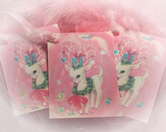 Set of 9 Pink Christmas Vintage Adorable Reindeer and Pink Ribbons Gift Bag Art Tags  Xmas Tree Ornaments Shabby Chic Retro Greeting Cards