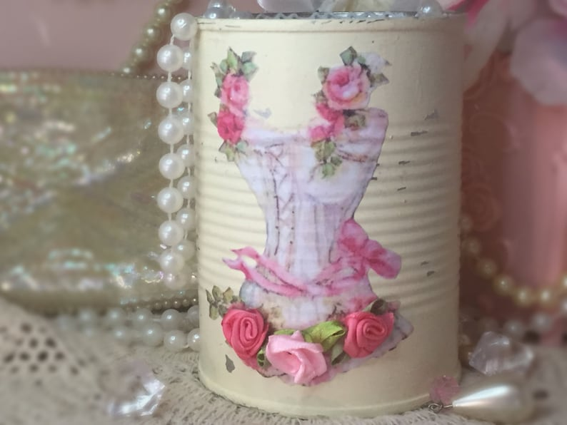 Shabby Chic Ivory Painted Tin Can Vintage Decoupage Corset image 0