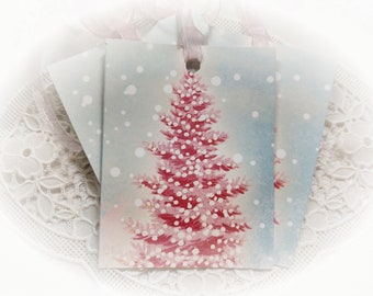 Set of 9 Pastel Pink/Blue Christmas Tree with Pink Ribbons TAGS - Gift Bag Tags - Ornaments Shabby Chic Retro Vintage Style Greeting Cards