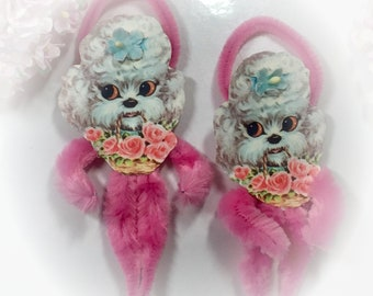 1 Pink Poodle Chenille Vintage Style Valentines Day Ornament - Christmas Tree Decoration - Dog Doggy Puppy Pipe Cleaner Ornament Gift Topper