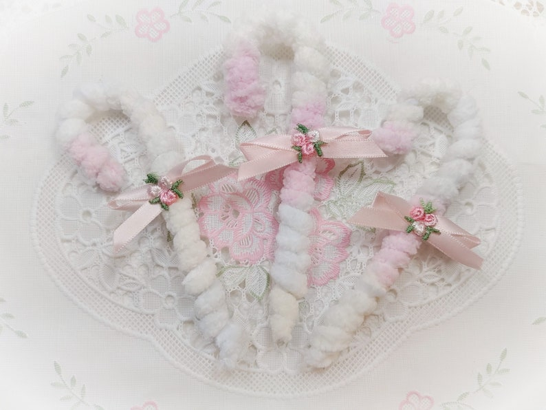 3 Pastel Candy Canes  Shabby Chic CHENILLE Pink Yellow Blue image 0