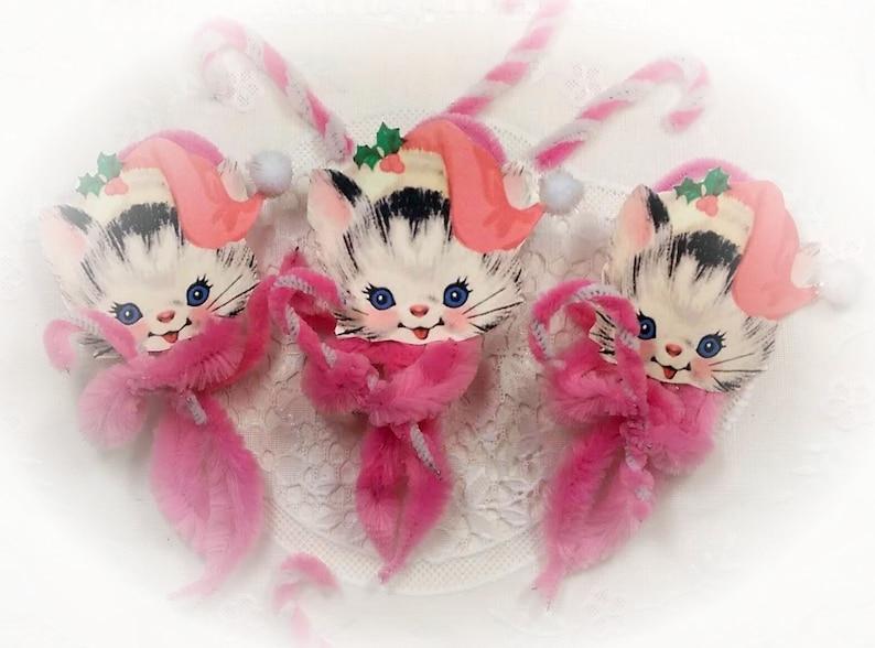 5 Pink Santa Kitties Christmas Chenille Vintage Style Ornament image 0