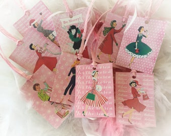 9 Pink Christmas Vintage Retro Woman Housewives Gift Bag Art Tags & Pink Ribbons Tree Ornaments Shabby Chic Retro Greeting Card Gift For Her