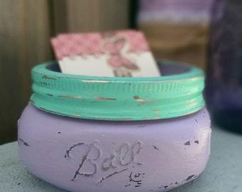 Shabby Chic Mason Jar Business Card Holder Glass Lavender Teal Dorm Office Home Decor Decorations Business Supplies Secretary Teacher Gift