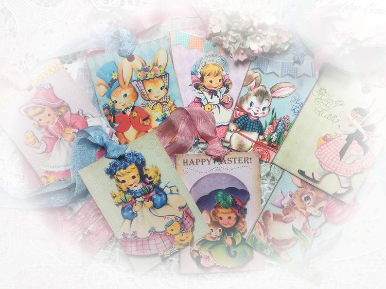 8 Vintage Easter Handmade Gift Bag Tag/Card & Ribbon SET Art image 0