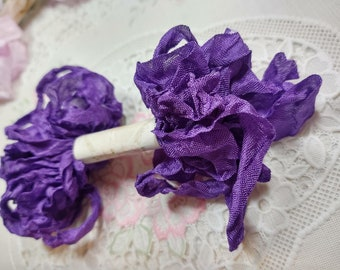 Purple Seam Binding Ribbon - Crinkle Wrinkle Satin - Crafting Card Making Gift Tag Paper Craft Embellishment Scrapbook Journal Planner