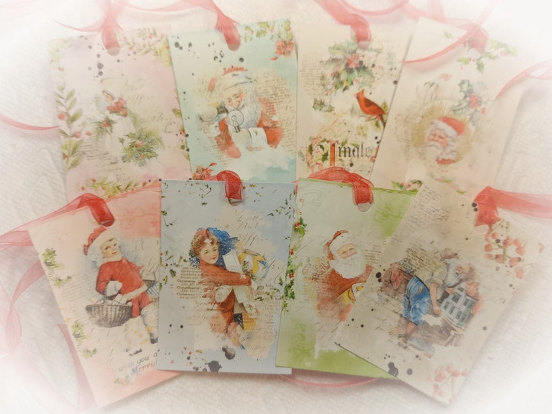 8 Victorian Traditional Christmas and Red Ribbons Gift Tags image 0