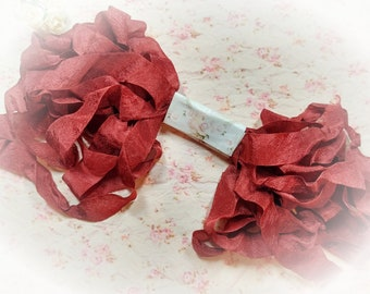 Brick Rust Red Seam Binding Ribbon Crinkle Wrinkle Satin Crafting Ribbon Card Making Gift Tag Embellishment Planner Scrapbook Journal Supply