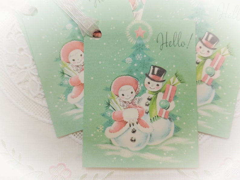 9 Vintage Snowmen Christmas Gift Tags and Pink Ribbons SET  image 0
