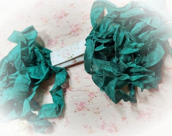 Forest Green Seam Binding Ribbon - Crinkle Wrinkle Satin Crafting Ribbon Card Making Gift Tag Embellishment Planner Scrapbook Journal Supply