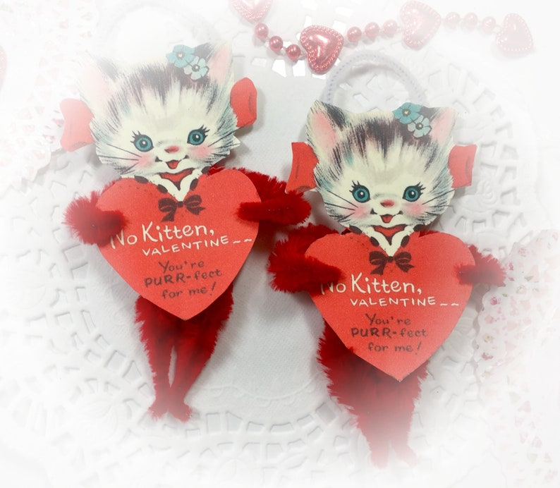 Red Kitty Chenille Vintage Style Valentines Day Ornament  image 0