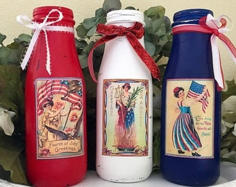 3 Americana Victorian Vase Shabby Chic Rustic Patriotic Flag Memorial Independence Day 4th of July 4 American USA Red White Blue Centerpiece