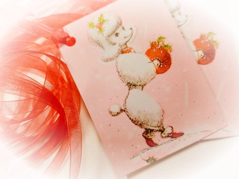9 Vintage Pink French POODLE Christmas Gift Tag & Ribbon Set  image 0