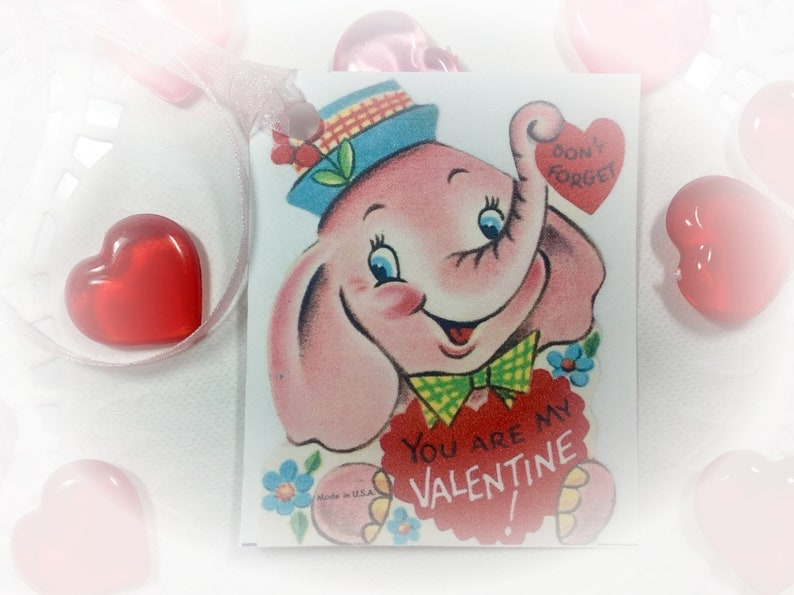 9 Pink Elephant Valentine's Day Decor Tags/Cards AND image 0