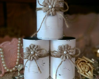 Shabby Chic White Tin Can Country Barn Wedding Rustic Table Centerpieces Decorations Flower Vases Home Office Dorm Nursery Decor Gift Idea