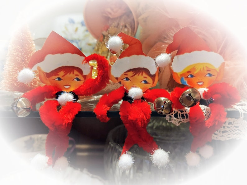 3 Elf on the Shelf Vintage Style Ornaments  Bump Chenille image 0