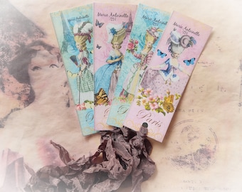 4 MARIE ANTOINETTE Ribbon Bookmarks or Gift Tags - Shabby Chic Journal Bookmarks - Journal Supplies - Bible Journal Diary - Gift for Her