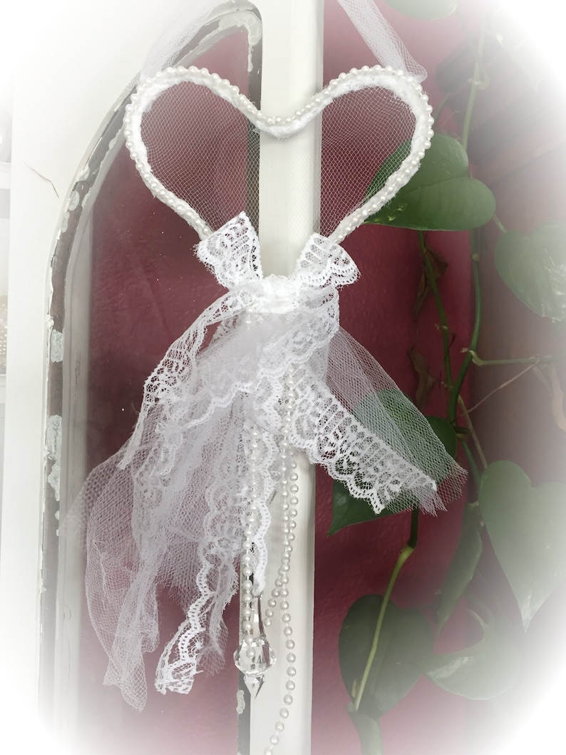 Shabby Chic Lace Tulle Wire Heart Wreath  Door Wall Nursery image 0