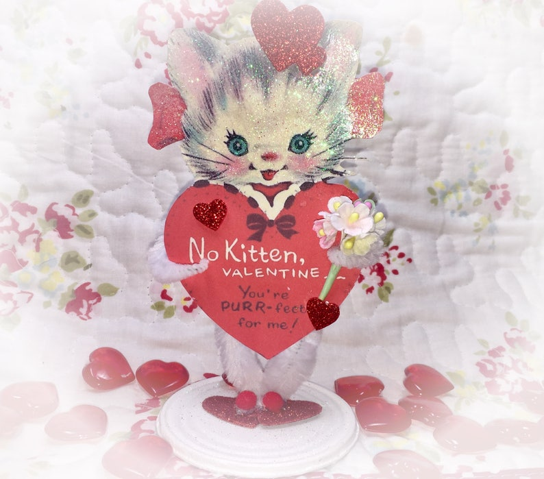 Kitty Valentine's Day Decor Vintage Style Bump Chenille image 0