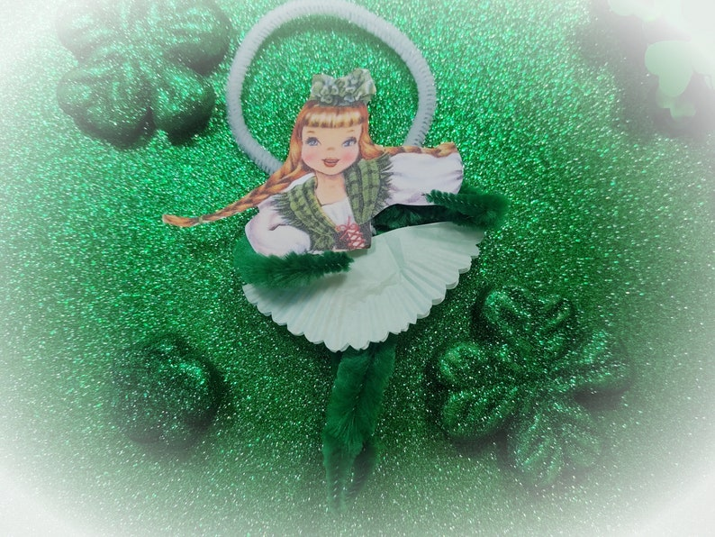 3 St Patricks Day Vintage Style Ornament  Bump Chenille Pipe image 0