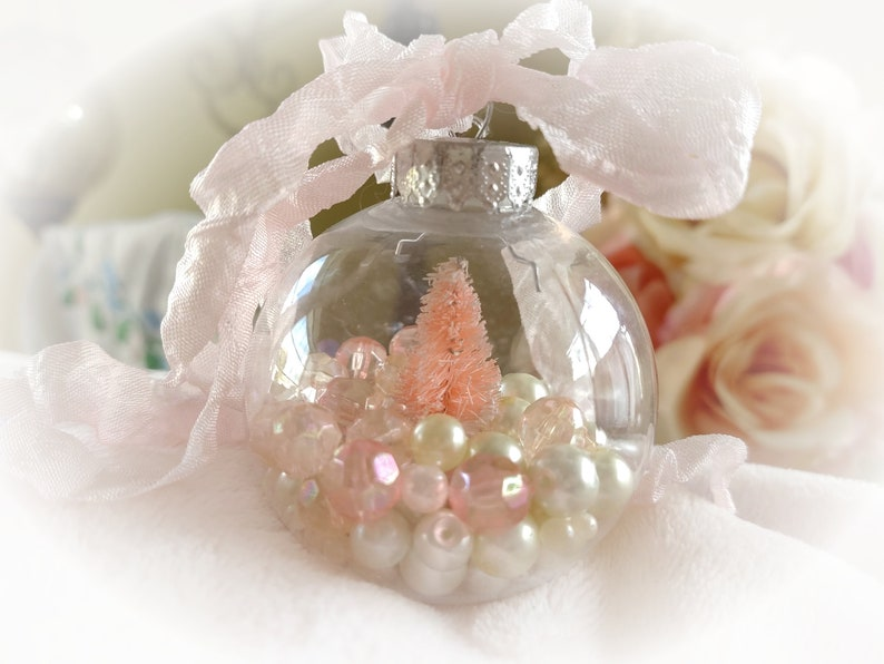 PINK CHRISTMAS Tree Ornaments  Shabby Chic Ornament  Clear image 0