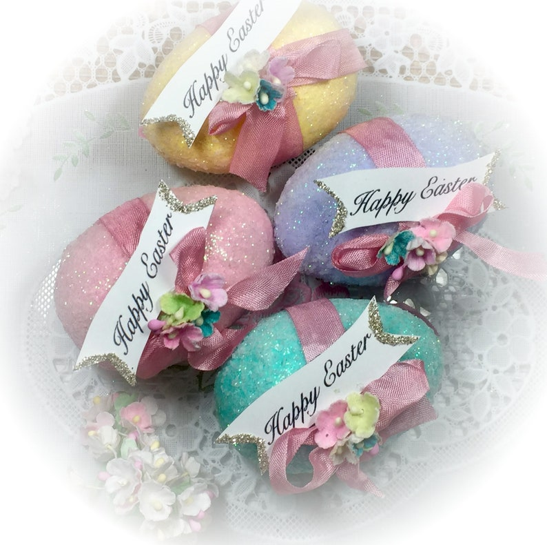Shabby Chic Pastel Easter Eggs  Vintage Style Sugar Glitter All 4 Colors