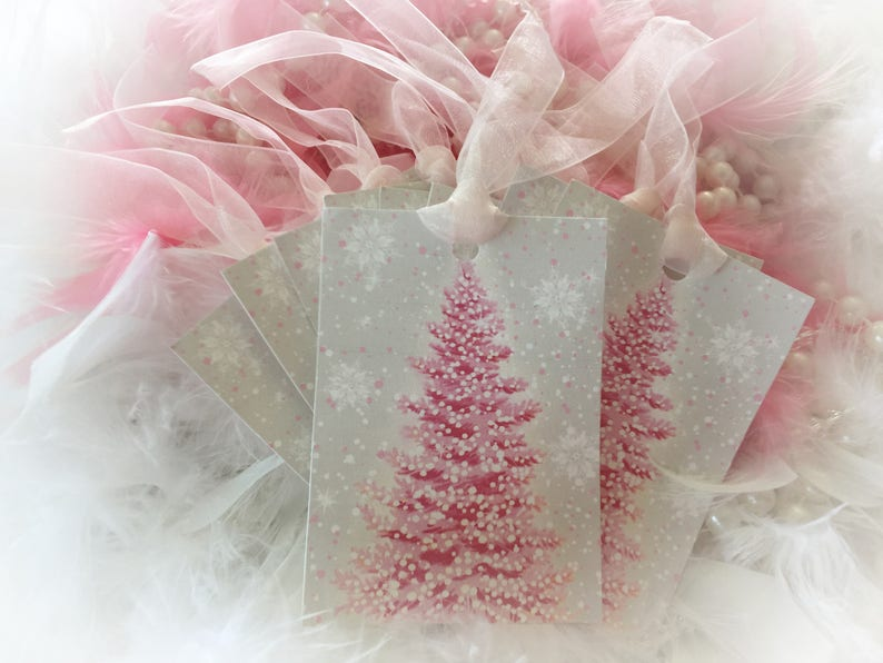 Set of 9 Pink Christmas Tree and Pink Ribbon Gift Bag Art Tags image 0