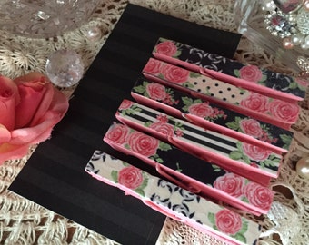 6 Shabby Chic Pink Black Floral Roses Stripes Polka Dots Decoupage Decorated Clothespins Pegs Magnets Optional Wedding Party Favors Gift