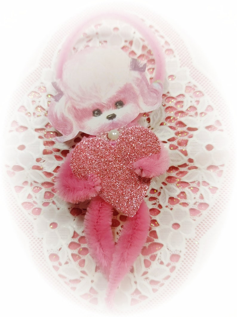 Pink Poodle Chenille Vintage Style Valentines Day Ornaments  image 0