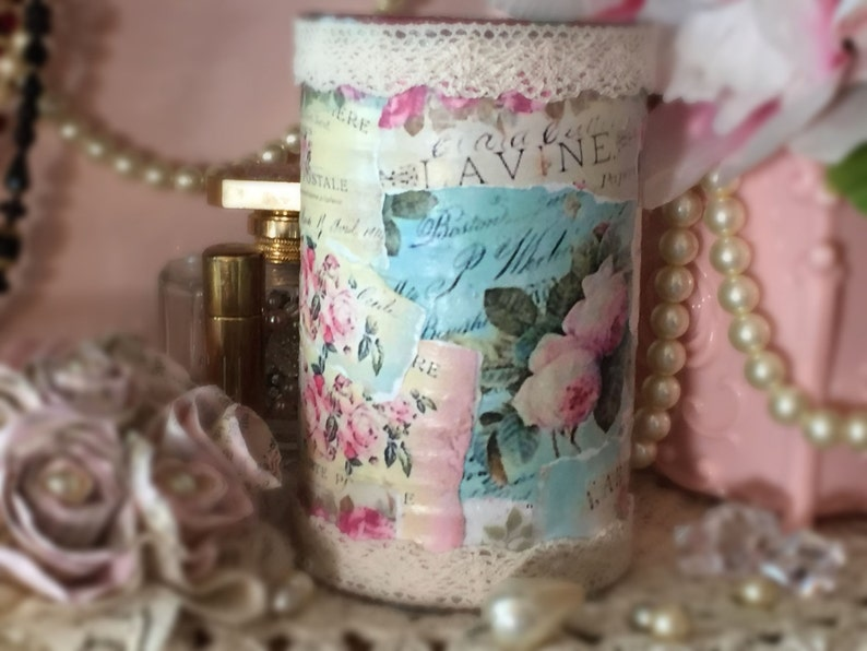 So Romantic Shabby Chic Decorated Embellished Tin Can Collage image 0