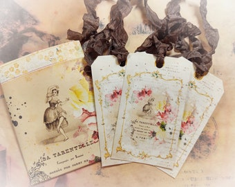 French Shabby Chic Gift Tag and Ribbons Set - Ballerina Baroque Style - Journal Scrapbooking Gift Bag Tags - Gift For Mom - Gift for Her