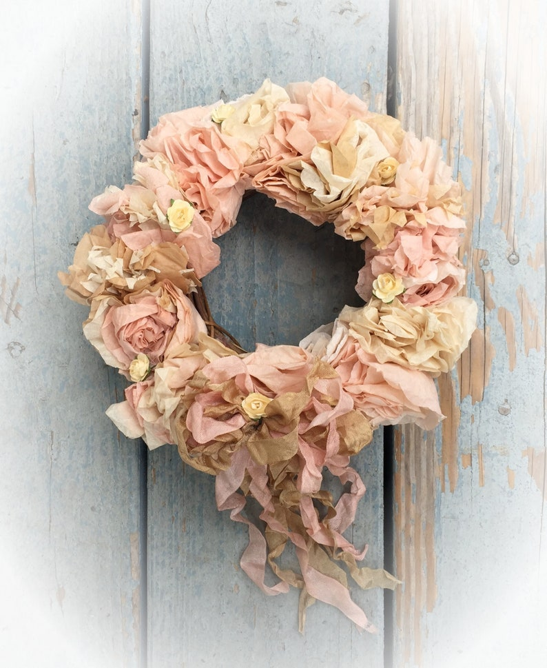 Shabby Chic Wreath  Pinks Ivory Creams  Coffee Filter Paper image 0