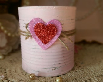 Pink Shabby Chic Valentine's Day Tin Can Vase Centerpiece Table Home Dorm Office Decor Decorations Gift Box Painted Cans Vintage Style Decor