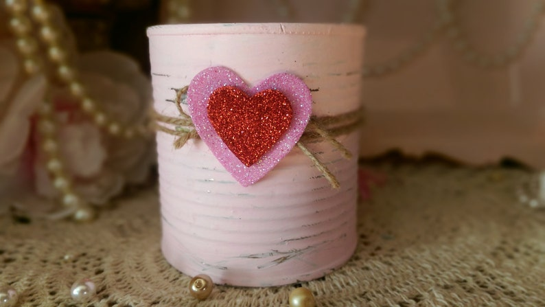 Pink Shabby Chic Valentine's Day Tin Can Vase Centerpiece image 0